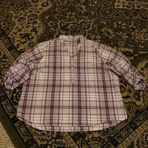 Riders by Lee Plaid Roll Tab Sleeve Blouse size 2X